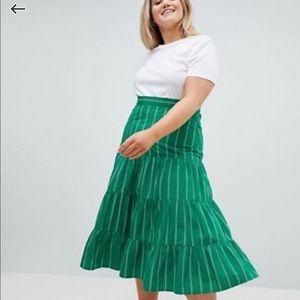 ASOS DESIGN Green striped midi skirt